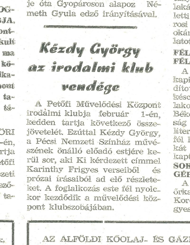 """""""Kézdy György az irodalmi klub vendége"""""""