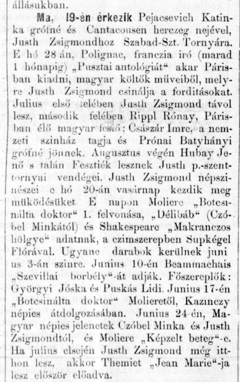 Így töltötte a nyarat Justh Zsigmond 1894-ben