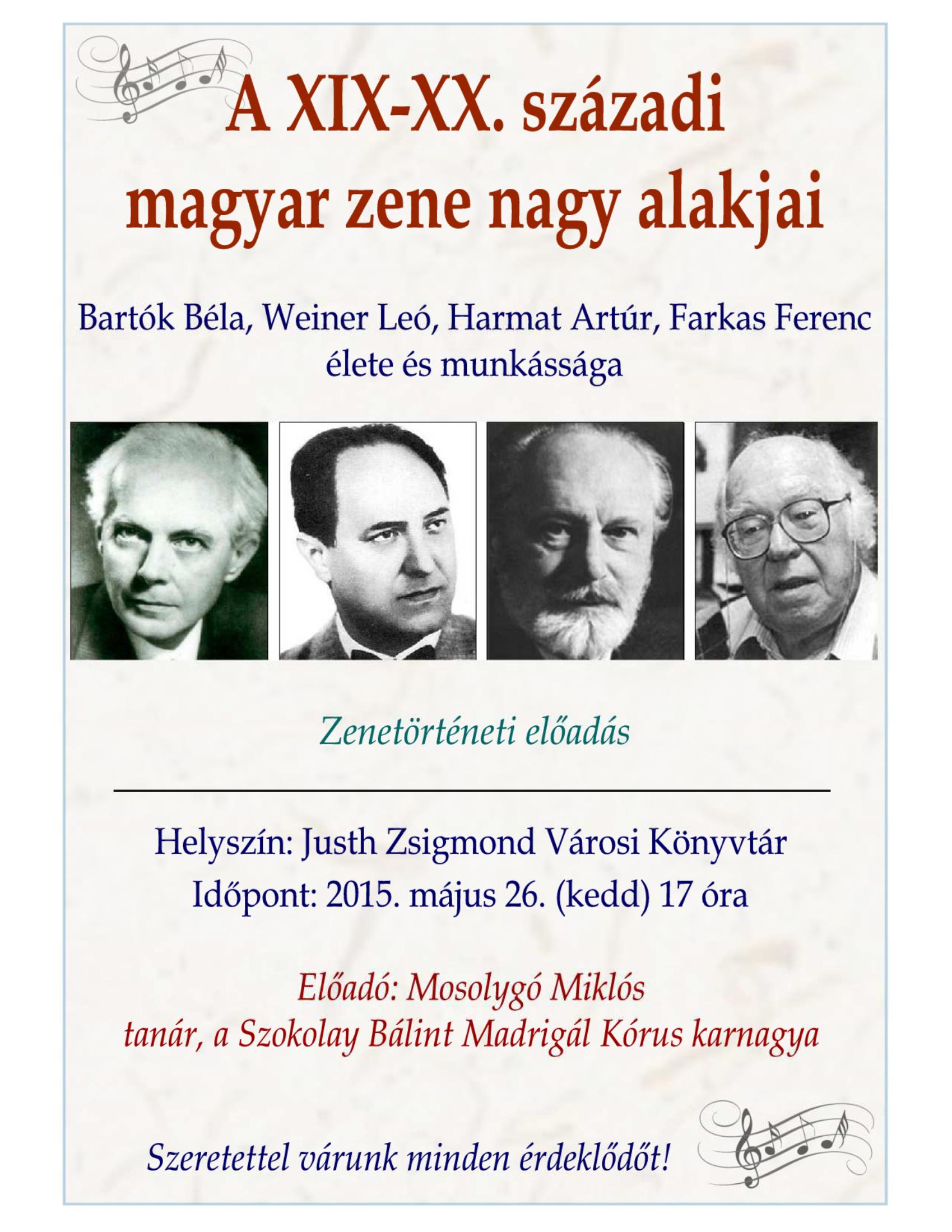 A XIX-XX. századi magyar zene nagy alakjai